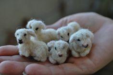 Needle felted animal Nativity Waldorf tiny lamb. by darialvovsky, $22.00