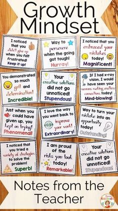 Do you teach your students about growth mindset? These notes from the teacher are the perfect complement to my other growth mindset products, including affirmation posters, flip books, and a growth mindset privacy office! Easy to use for teachers and ver Classroom Behavior, Classroom Management, Classroom Helpers, Classroom Jobs, Behavior Management, Future Classroom, Social Emotional Learning, Social Skills, Teaching Strategies
