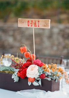 Rustic Modern Red and Orange Centerpieces