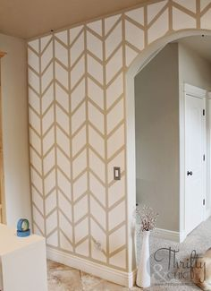 Painted Herringbone Accent Wall With ScotchBlueTM Painters Tape