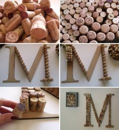DIY project wine corks monogram.  Perfect for those corks from special occasions