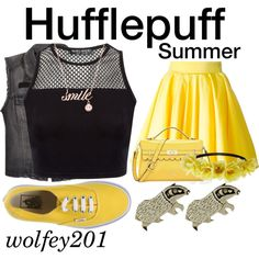 Harry Potter - Hufflepuff: Summer by ve-ssel on Polyvore featuring H&M…