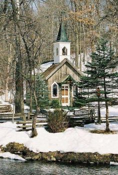A beautiful country Church in the snowy woods