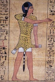 Prêtre vêtu d'une peau de guépard. Fac-similé du Livre des Morts sur papyrus d'Ani. EGYPTE, vers 1420 av. J.–C.