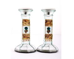 Shabbat Candlesticks  Recycled Glass  Hand Painted  by LDDecoline, $47.00