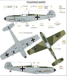 Art Messerschmitt Bf 109E maintenance markings