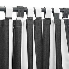 Pawleys Island Hammocks Cabana Black Sunbrella Outdoor Curtain With Tabs (50 x 84) > Length: 84 in. Color: Cabana Black Width: 50 in.