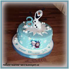 Olaf Birthday Cake, Number Birthday Cakes, Elsa Birthday, Baby Birthday Cakes, Birthday Ideas, Anna Frozen Cake, Frozen Party Cake, Anna Cake, Party Cakes