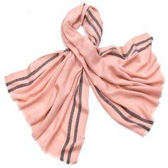 Etole laine fine rose tissée avec rayures - Etole/Etole laine - Mes Echarpes