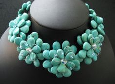 Turquoise Crystal Flower Necklace and Earrings Set Handmade PN3
