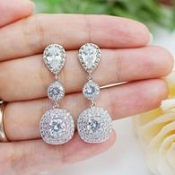 LUX cubic zirconia square bridal earrings from EarringsNation