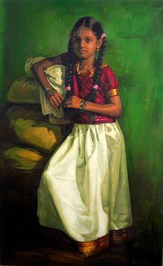 Tamil little girl in silk tops & skirt - Painting by S. Elayaraja (www.elayarajaartgallery.com)