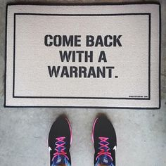 "Send a strong message to the police to stay out your home with the ""back with the warrant"" doormat. It lets you exercise your right as a ""Murican"", reminding anyone to come to the door unless they have a warrant that goes into your home does not happen. Recommend: gift for family"