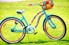 Fun colors. This bike has knitted and crocheted covers on the bars!