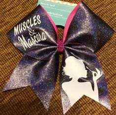 Muscles and Mascara Black Iridescent Glitter Cheer Bow