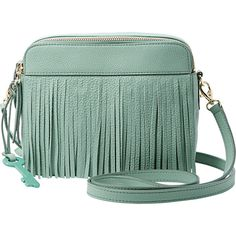 Fossil Sydney Fringe Crossbody (9.920 RUB) ❤ liked on Polyvore featuring bags, handbags, shoulder bags, green, leather handbags, handbags crossbody, leather fringe purse, green leather handbag and shoulder handbags