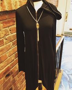 This hooded zip up tunic is perfection with leggings!!! $48.95 Statement necklace- $18.95  #madisonsbluebrick #downtownhotsprings #fallfashion #tunic #zipups #shoplocal