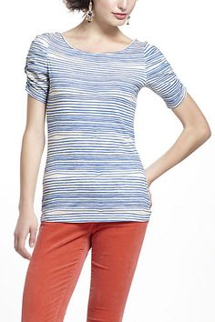 Here & There Tee, Stripes - Anthropologie.com    I dont like horizontal stripes, but the sleaves and the neckline (wide, but not low) are great.