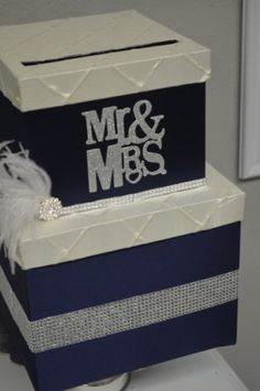 Navy gift box Glitter Mr and Mrs Navy Wedding by ForeverLoveNotes, $115.00