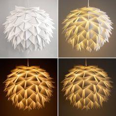 White Spiky Pendant Light - Overlapping Folds Origami Paper Hanging Lamp, via Etsy. Hanging Lamp Shade, Lamp Shades, Light Shades, Paper Lantern Lights, Paper Lanterns, Diy Deco Rangement, Origami Lights, Luminaria Diy, Paper Lampshade