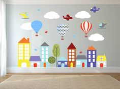 Wand Aufkleber-Kinder Wandtattoos Aufkleber-Stadt