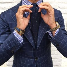 More blues on blues! Knit tie and check jacket
