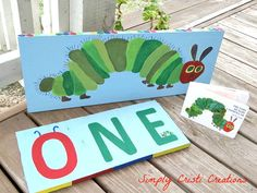 I painted these for my son's first birthday. The Very Hungry Caterpillar Theme