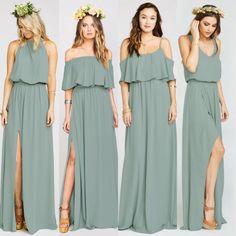 Wedding bohemian bridesmaids dresses for 2019 Green Bridesmaid Dresses, Wedding Bridesmaids, Prom Dresses, Wedding Dresses, Lace Dresses, Trendy Wedding, Boho Wedding, Wedding Ideas, Maid Of Honour Dresses