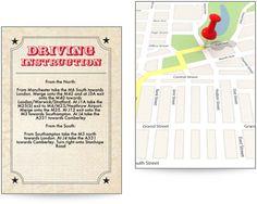 Carnival themed driving instruction insert to accompany wedding invitations