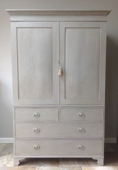 Antique George III Mahogany Hand Painted Grey Cream Linen Press Larder Cupboard Wardrobe Annie Sloan Paris Grey