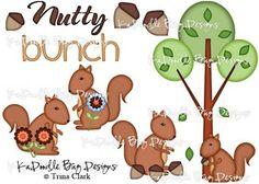 Nutty Bunch Paper Piecing Pattern, Cutting File, Scrapbook, Silhouette Studio, SVG File, MTC, SCAL, Trina Clark