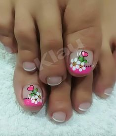 Consuelo Pedicure Nail Art, Pedicure Designs, Toe Nail Designs, Toe Nail Art, Acrylic Nail Designs, Wow Nails, Cute Toe Nails, Pretty Nails, Summer Toe Nails