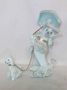 VINTAGE LIGHT BLUE SPAGHETTI POODLE WITH PUPPY FIGURINE ~ LEFTON?