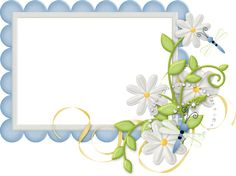 Cute Large Design Blue Transparent Frame with Daisies