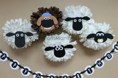 Shaun the Sheep Inspired Party Poms by PomPomMomma on Etsy, $36.00