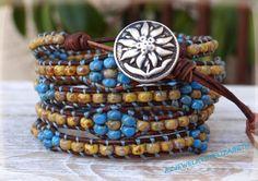Gorgeous Seed Bead Leather Wrap Bracelet, Flower And Seed Bead Wrap Bracelet, Seed Bead Bracelet.