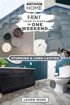 Take your bathroom from dated to dazzling in a day by painting your floor! This easy DIY project works on tile, vinyl, linoleum, and more. Use alternating colors for a unique pattern, or use a stencil to get the look of custom floors on a budget! Home Renovation, Home Remodeling, House Painting, Diy Painting, Floor Painting, Home Design, Cheap Home Decor, Diy Home Decor, Tuile