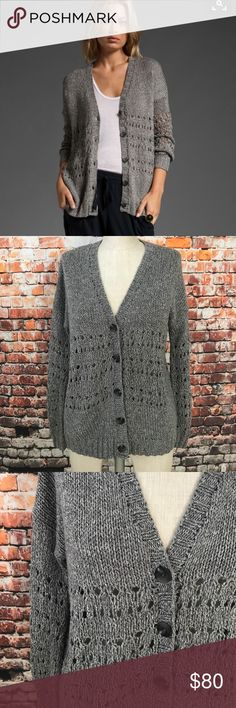 Vince cardigan Great condition! Knitted by hand Vince cardigan. 52% cotton, 48% acrylic. See pics for measurements! No trades! Reasonable offers are welcome and will be accepted immediately!                                                                                   NIO07 Vince Sweaters Cardigans