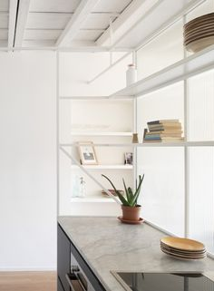 Image 5 of 24 from gallery of Casa di Ringhiera / studio wok. Photograph by Federico Villa studio Apartment Interior, Apartment Design, Living Area, Living Spaces, Shower Box, Metal Structure, Wood Beams, Carrara Marble, Elle Decor