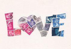 Items similar to Love Postage Stamp collage, Retro folk art style, White border, inch on Etsy Map Crafts, 3rd Grade Art, Postage Stamp Art, Envelope Art, Creation Deco, Vintage Stamps, Valentine's Day Diy, Letter Art, Mail Art