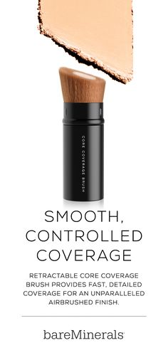 The retractable bareMinerals Core Coverage Brush provides buildable, detailed coverage for an unparalleled airbrushed finish. The dense and tightly packed core fibers of the makeup brush allow for fast application, while the soft outer fibers provide an even finish. Specially designed for applying bareMinerals BAREPRO foundation.