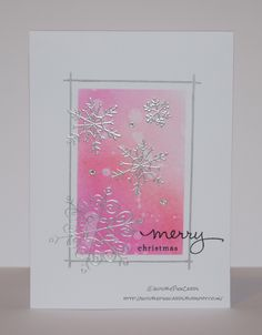 InvisiblePinkCards: Quick Christmas card using Tim Holtz distress inks and heat embossed silver snowflakes from Stampin' Up Endless Wishes