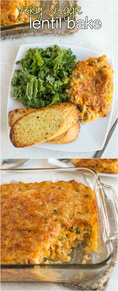 Very veggie lentil bake - this is SO GOOD. Its appearance doesn't do it justice! Creamy, cheesy lentils with veggies and a crispy crust. It's vegetarian and gluten-free too!