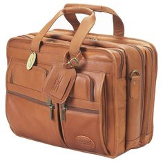 ClaireChase Personalized X-Wide Executive Computer Briefcase - Saddle - 154XL-SADDLE