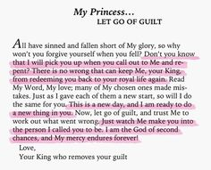 Let go of Guilt my Princess Love Your King