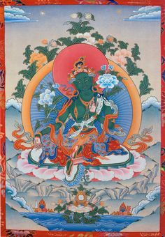 Tibetan buddhist thangka of green tara tibet visual dharma art green tara fandeluxe Images