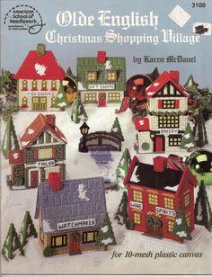 Old English Christmas Shopping Village Plastic Canvas American School Needlwork - Plastic Canvas Patterns $15.99