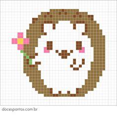 Hedgehog perler bead pattern - Doces Pontos