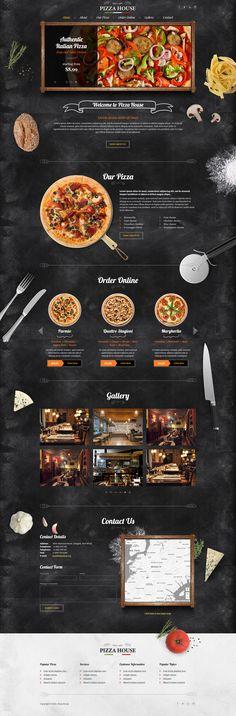 Pizza House HTML Template on Behance Pizza Menu Design, Pizzeria Design, Restaurant Website Design, Food Web Design, Restaurant Website Templates, Site Restaurant, Pizza Restaurant, House Restaurant, Site Pizza