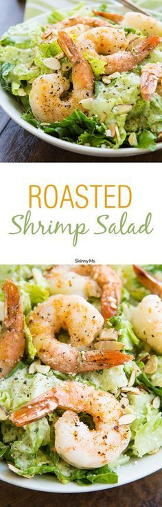 Roasted Shrimp Salad w/Buttermilk Cilantro Dressing. This salad is features lean protein and homemade clean eating dressing that is perfect for a summer lunch! /search/?q=%23roastedshrimp&rs=hashtag /search/?q=%23shrimpsalad&rs=hashtag